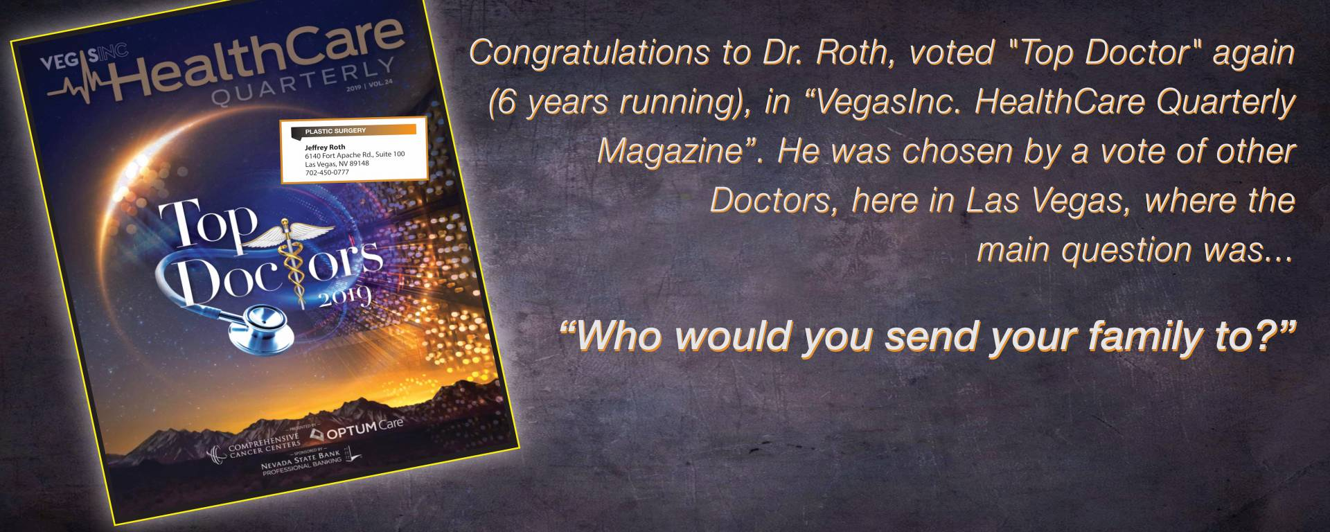 Dr. Roth again voted a 2019 Top Doc!