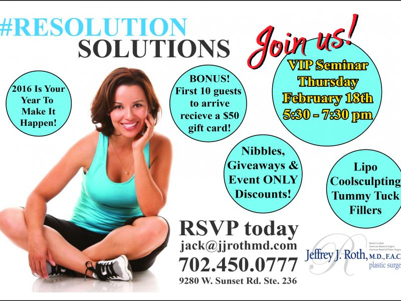 """FEB. 18th! Dr. Roth's """"Resoution Solution"""" Event!"""