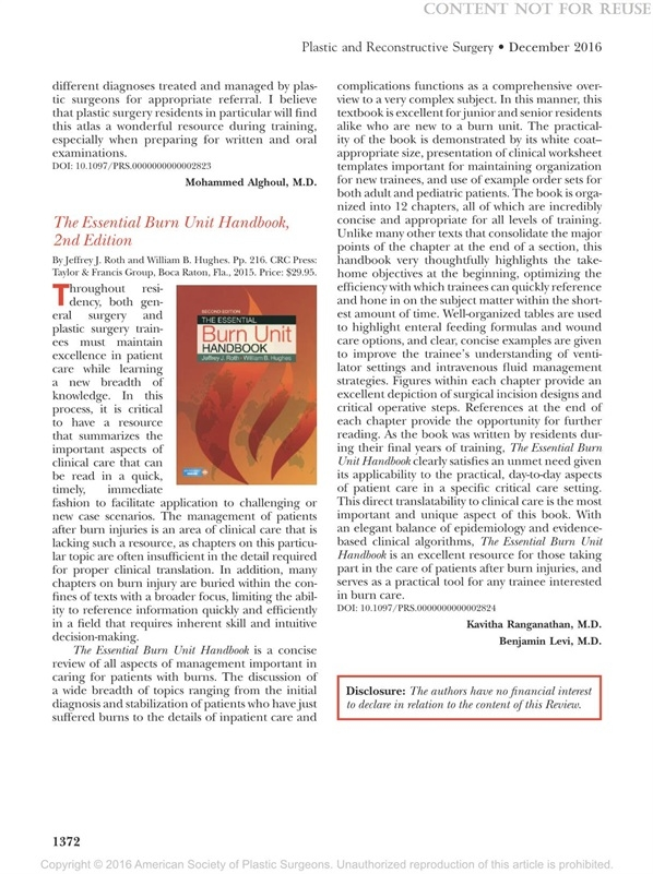 "Dr. Roth's ""Burn Unit Handbook"" gets steller review by ""The White Journal""."