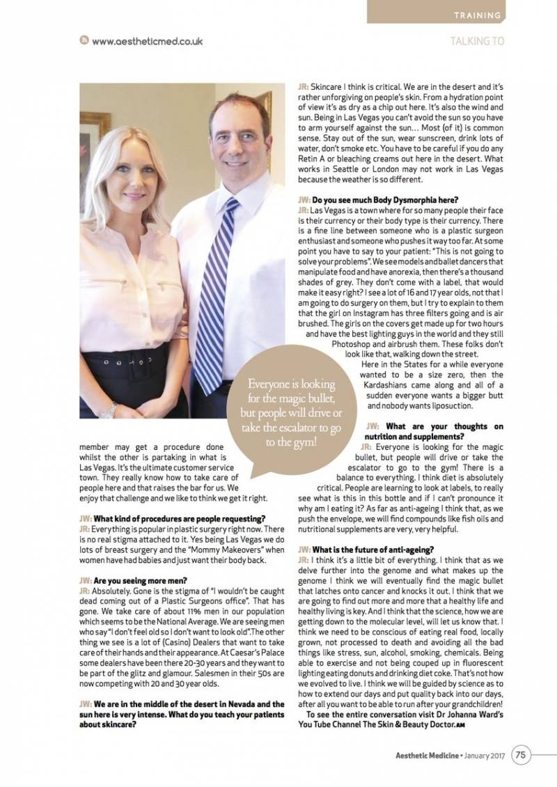 "Dr. Roth featured in ""Aesthetic Medicine"" Magazine in the UK!"