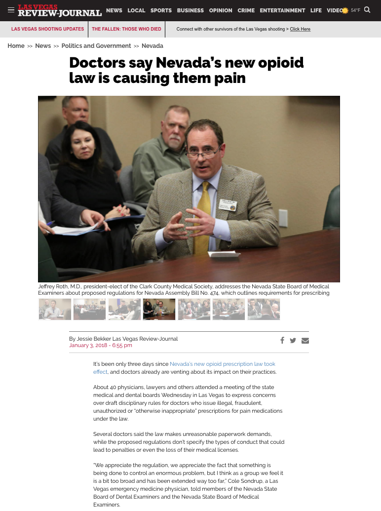 1/3/18: Dr. Roth testifies about Nevada's new opioid laws in the Las Vegas Review Journal.