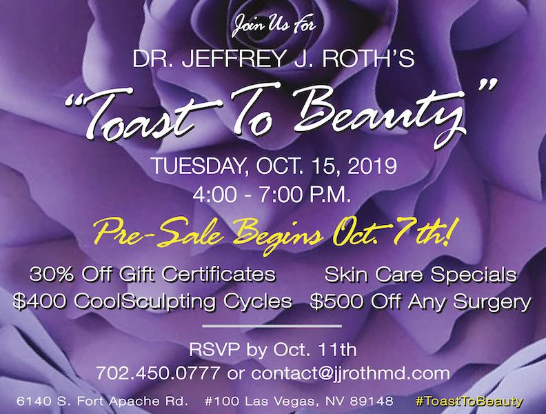 """OCTOBER 15th! Dr. Roth's 2019 """"Toast To Beauty"""" Event!"""