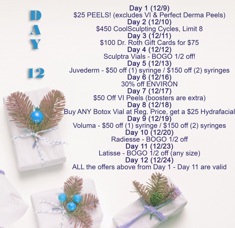 "Dr. Roth's ""12 Days of Holiday Savings"" ON NOW!!"